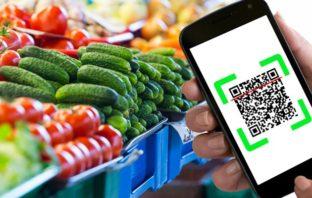 Celular com QRCode e hortaliças na gôndola de um mercado